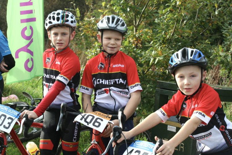 Young competitors from Coalisland's Chieftain Cycling Club in Derry on Sunday.