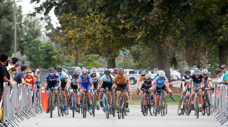The start of the women's race at the 2016 CXLA Cyclocross Day 1, as Courtenay McFadden misses her pedal. © C. Fegan Kim. Cyclocross Magazine