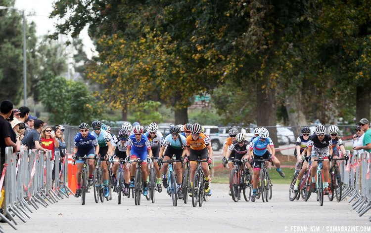 The start of the women's race at the 2016 CXLA Cyclocross Day 1, as Courtenay McFadden misses her pedal. © C. Fegan-Kim. Cyclocross Magazine