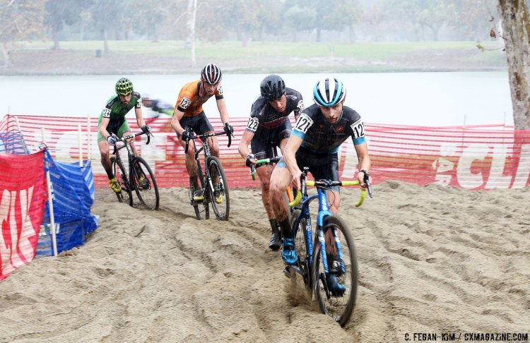 Lance Haidet leads the U23 lead group through the sand. 2016 CXLA Day 2. © Cathy Fegan-Kim / Cyclocross Magazine