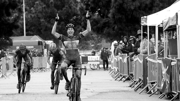 Maxx Chance celebrates his U23 win. 2016 CXLA Day 2. © Cathy Fegan-Kim / Cyclocross Magazine