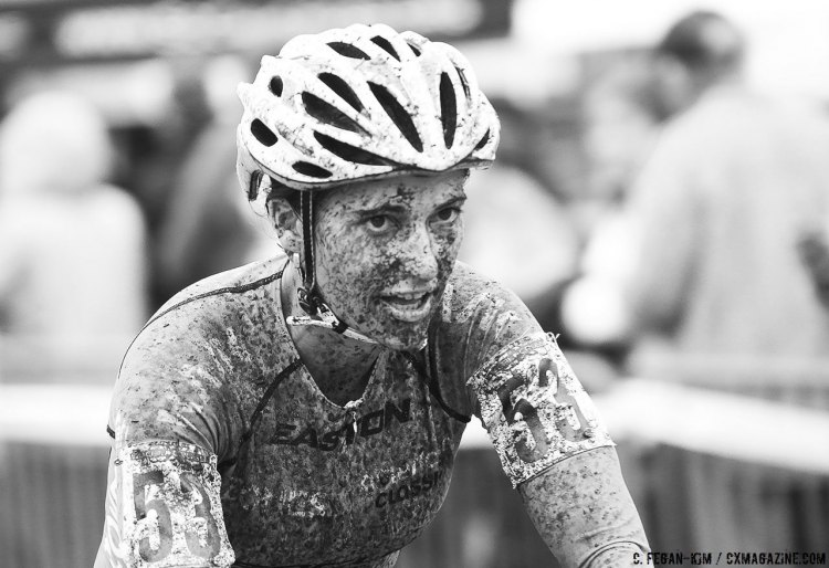 Courtenay McFadden after a solid effort on a rainy day. 2016 CXLA Day 2. © Cathy Fegan-Kim / Cyclocross Magazine