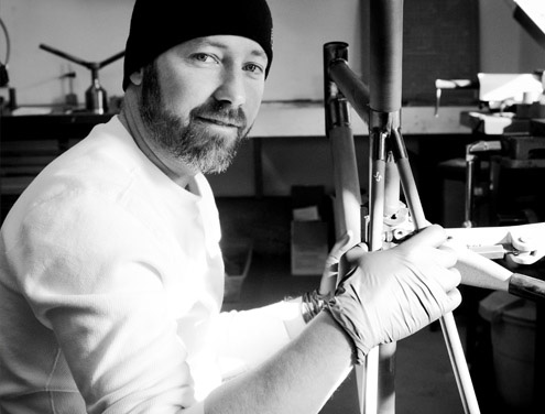 Brian Williams is the frame builder and designer. Brian builds Kelson Bikes from start to finish including designing, manufacturing, engineering, and even paint.