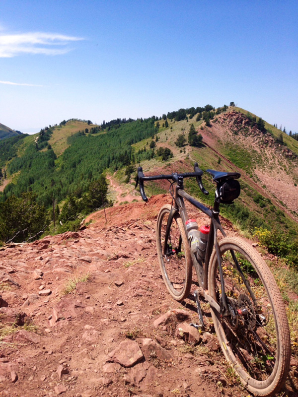 "Burke Swindlehurst likes to go where no man has gone before- and with his very own Quiver Killer- here you see him riding the Wasatch Crest Trail in Utah- I guess drop bar ""mountain bikes"" are all the rage now!"