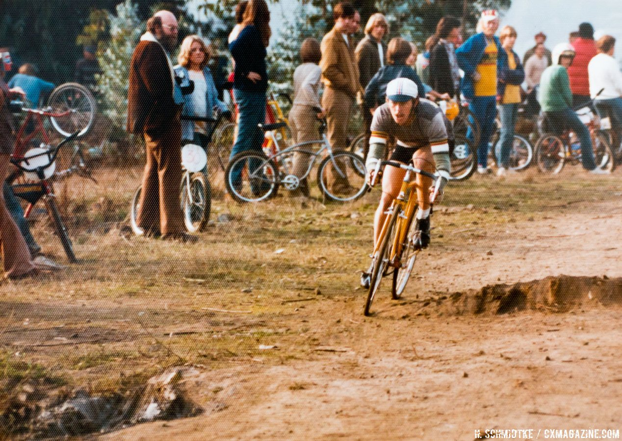 Laurie Schmidtke avoids the natural obstacles. Mill Valley Cyclocross. December 1, 1974. Note all the upright handlebar dirt bikes in the background, well before the mountain bike was created. © Hermann Schmidtke