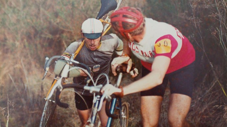 Laurie Schmidtke catching up to Fritz Liedl. Mill Valley Cyclocross. December 1, 1974. © Hermann Schmidtke