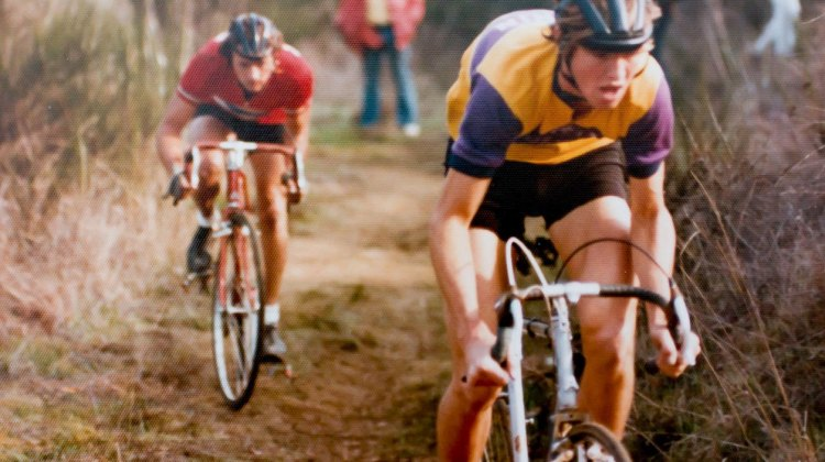 Laurence Malone and Dannie Nall leading the race up the climb. Mill Valley Cyclocross. December 1, 1974. © Hermann Schmidtke