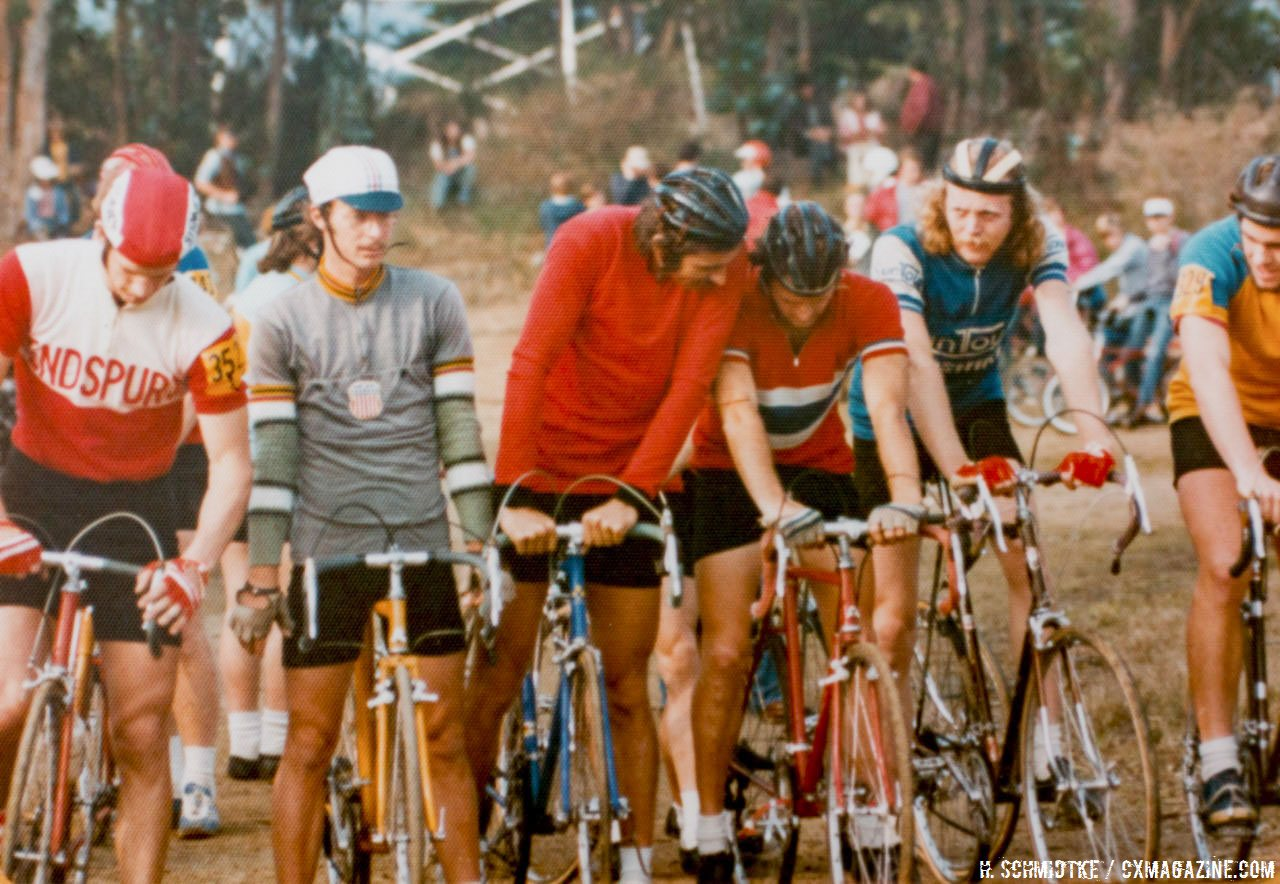 The start line, left to right: Chuck Cnepa, Laurie Schidtke, Tim Kelly, Dannie Nall, Gary Fisher. Mill Valley Cyclocross. December 1, 1974. © Hermann Schmidtke