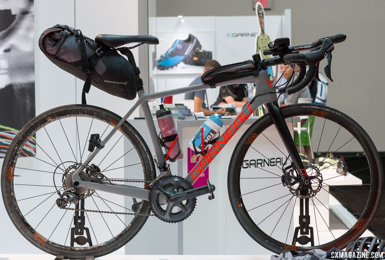 Louis Garneau also showed off this model set up for bike packing, with aero bars and 25c tires. © Cyclocross Magazine