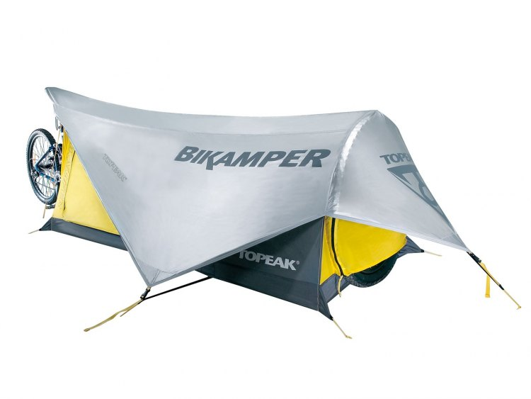 Topeak's Bikamper turns your bike into tent poles and provides some warm, secure shuteye on your escape.