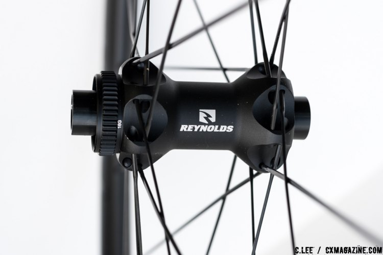 Reynolds Attack front hub with 15mm TA and straight pull bladed spokes. C. Lee / Cyclocross Magazine