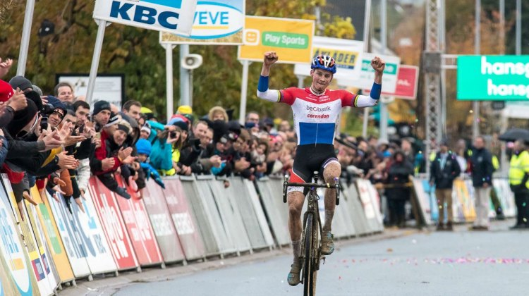 Mathieu van der Poel wins his third Superprestige in a row. 2016 SuperPrestige cyclocross series, Ruddervoorde race #3, Elite Men. © Peter Scholz / Cyclocross Magazine