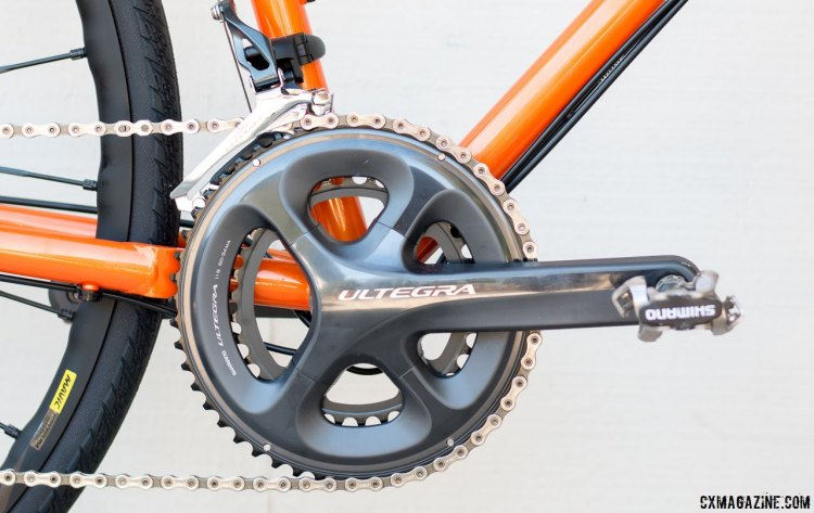 A compact 50/34 Ultegra crankset adds versatility to the Van Dessel WTF steel bike. © Cyclocross Magazine