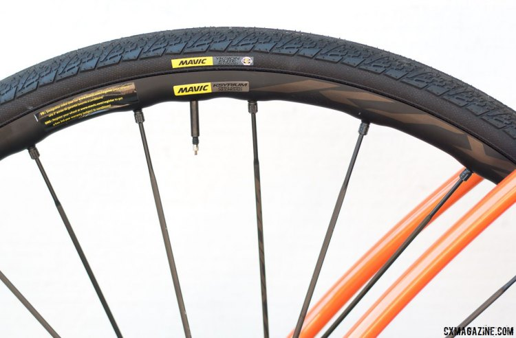 Our test bike came with Mavic Ksyrium Pro Disc All Road wheels with the Yksion gravel tires. Van Dessel WTF steel bike. © Cyclocross Magazine