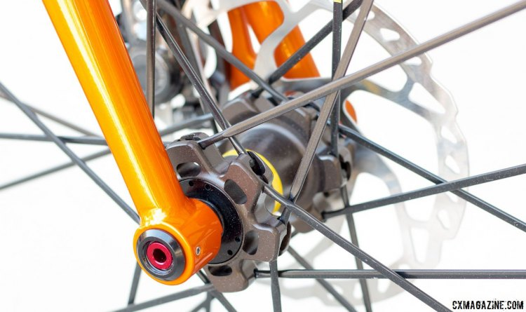 Steel thru axle fork handles the steering and provides a compliant ride. Van Dessel WTF steel bike. © Cyclocross Magazine