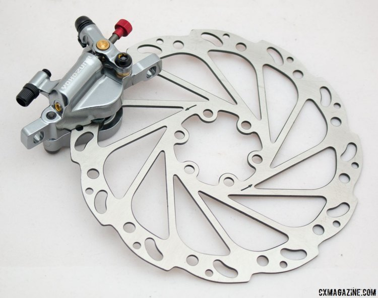 Yokozuna Motoko cable-pull hydraulic disc brake and included 160mm stainless rotor. © Cyclocross Magazine