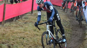 Denzel Stephenson was one of three racers from the United States racing the 2016 Zeven UCI Cyclocross World Cup Junior Men's race. Stephenson would finish top American in 23rd place. © C. Jobb / Cyclocross Magazine