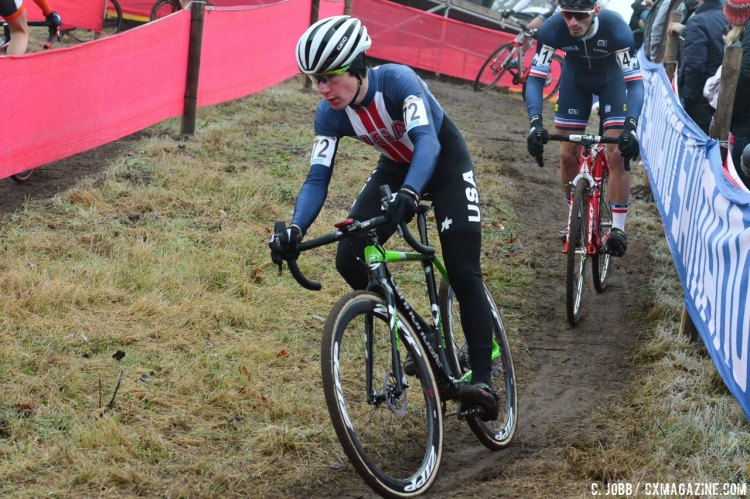 Sam Noel ended up finishing in 26th for the Zeven Junior Men's race. © C. Jobb / Cyclocross Magazine