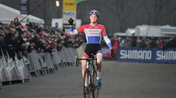 Mathieu van der Poel proved once again he's the one to beat in Zeven, Germany at the 2016 World Cup. © C. Jobb / Cyclocross Magazine