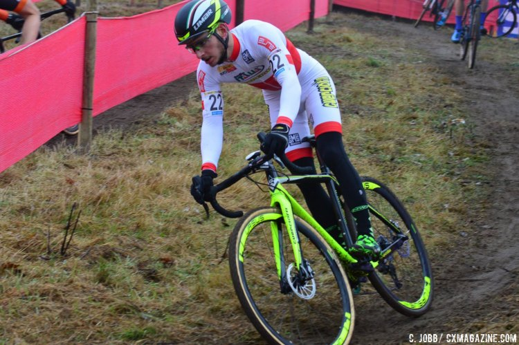 Gioele Bertolini from Italy would finish fourth at the 2016 Zeven UCI Cyclocross World Cup. © C. Jobb / Cyclocross Magazine