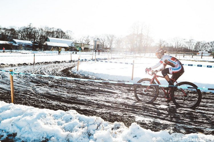 They snowy mountain town makes for memorable racing conditions. 2016 Nobeyama Rapha Super Cross Day 1. © Jeff Curtes