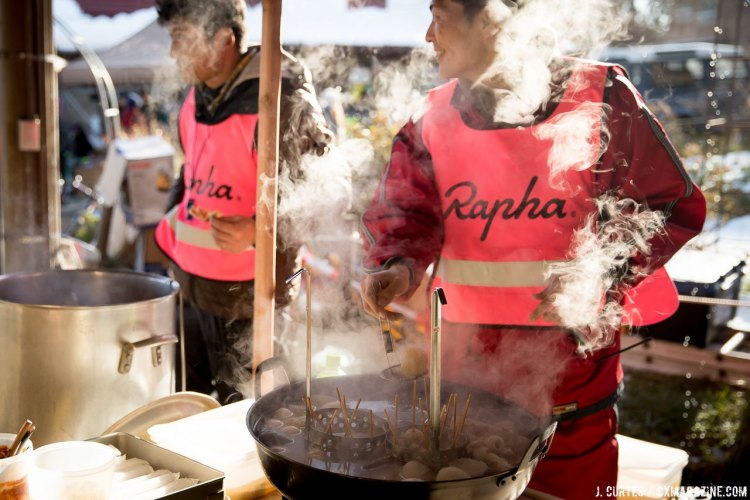 No, Rapha isn't getting into selling upscale oden, but the company did supply branded vests for anyone working the event. 2016 Nobeyama Rapha Super Cross Day 1. © Jeff Curtes