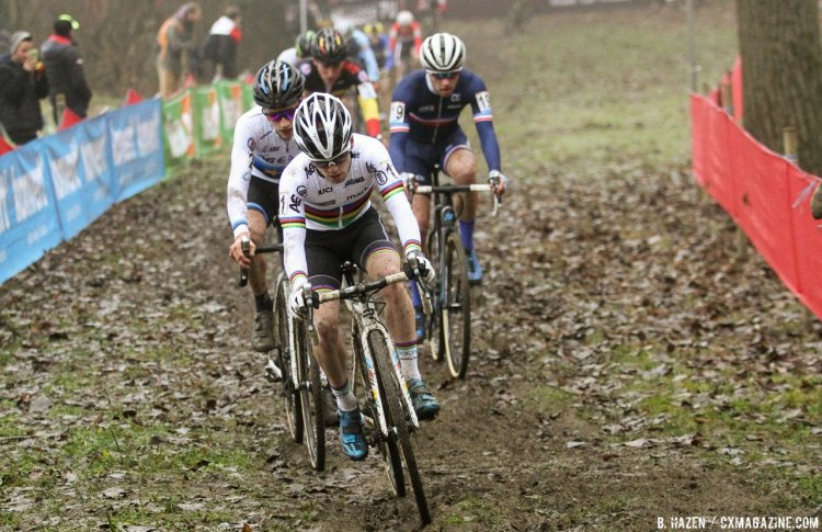 U23 World Champ Eli Iserbyt leads the chase and the battle or silver. 2016 Namur Cyclocross World Cup, U23 Men. © B. Hazen / Cyclocross Magazine