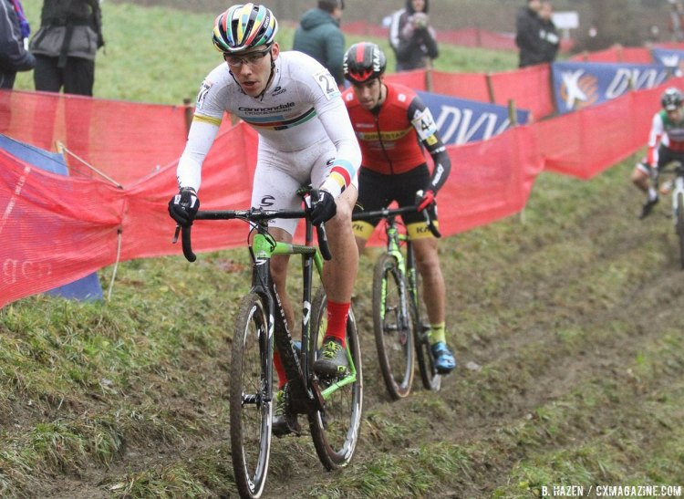 Curtis White had a strong start and finished 17th. 2016 Namur Cyclocross World Cup, U23 Men. © B. Hazen / Cyclocross Magazine