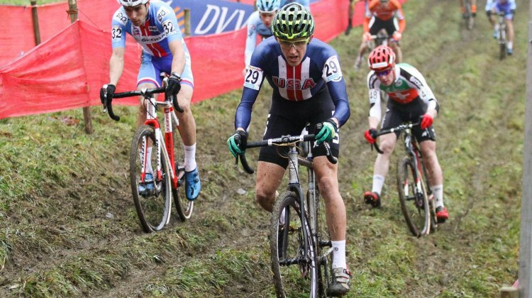 First-year U23 Gage Hecht finished 29th. 2016 Namur Cyclocross World Cup, U23 Men. © B. Hazen / Cyclocross Magazine