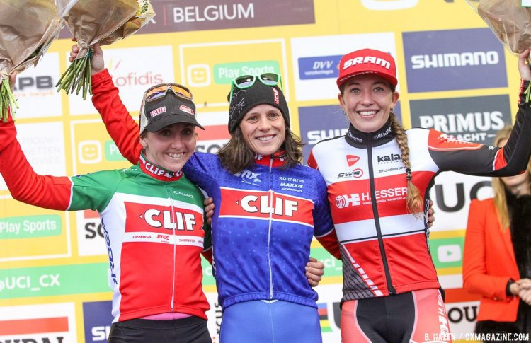 L to R: Eva Lechner, Katerina Nash, Sophie de Boer: 2016 Namur UCI Cyclocross World Cup - Elite Women. © B. Hazen / Cyclocross Magazine