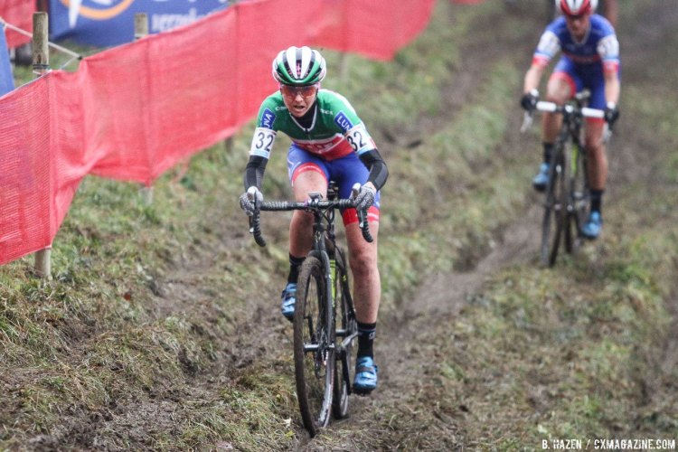 Lechner powered away early, and roared back late. 2016 Namur UCI Cyclocross World Cup - Elite Women. © B. Hazen / Cyclocross Magazine