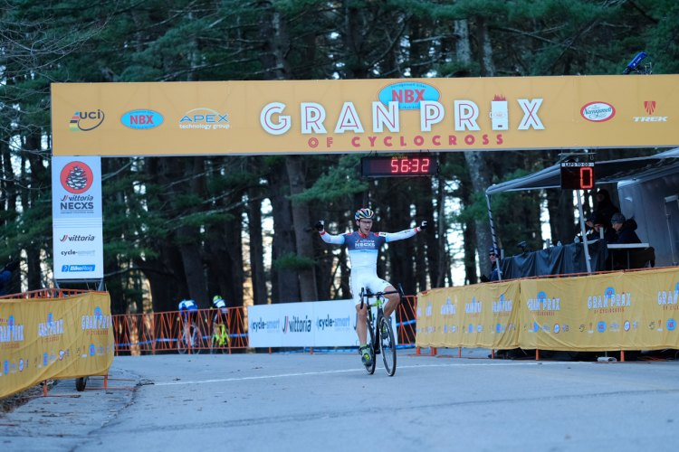Curtis White (Cannondale p/b Cyclocrossworld.com) takes the win on Day 1 of NBX Gran Prix of Cross. © Chris McIntosh / Cyclocross Magazine
