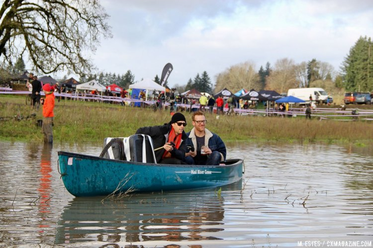 The announcers stayed on top of things with their handy canoe. 2016 SSCXWC consolation round. © M. Estes / Cyclocross Magazine