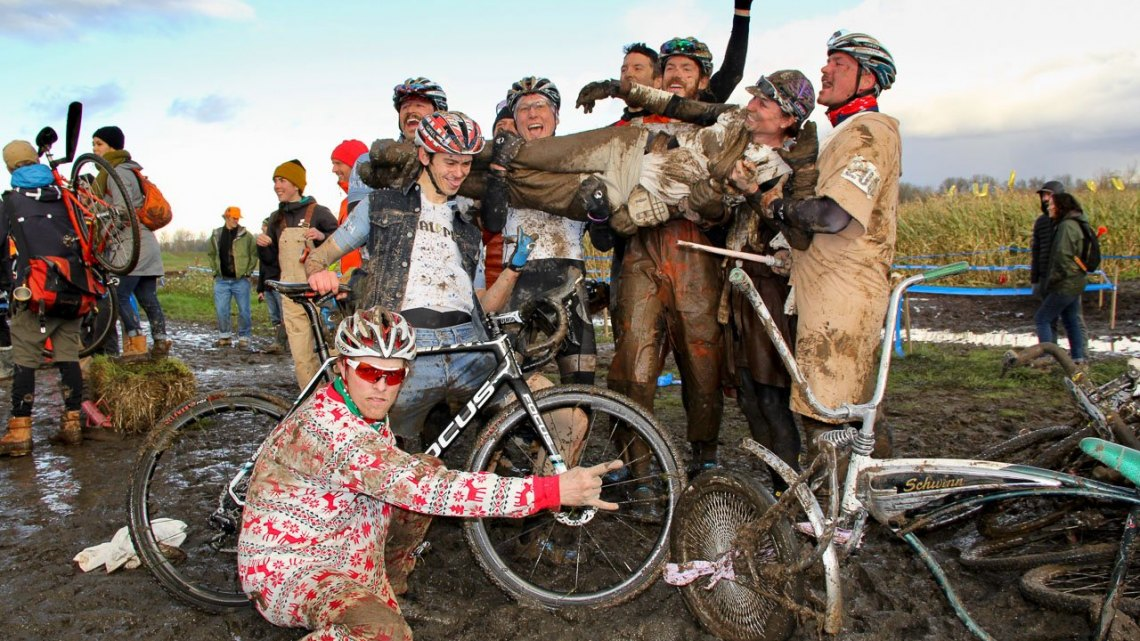 Celebrating a memorable day. 2016 SSCXWC Men's Finals. © M. Estes / Cyclocross Magazine