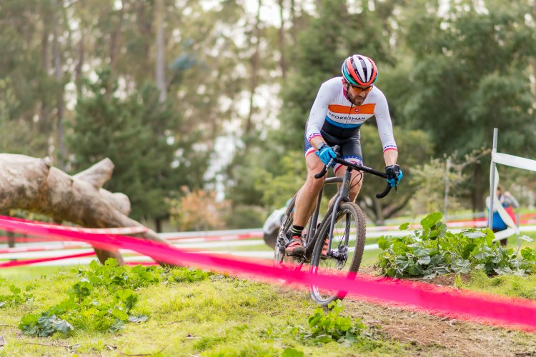 Former road pro Andy Jacques-Maynes flatted on the 1st lap and had a tough chase back to finish 10th - 2016 Cyclocross at Coyote Point. © Jeff Vander Stucken / Cyclocross Magazine