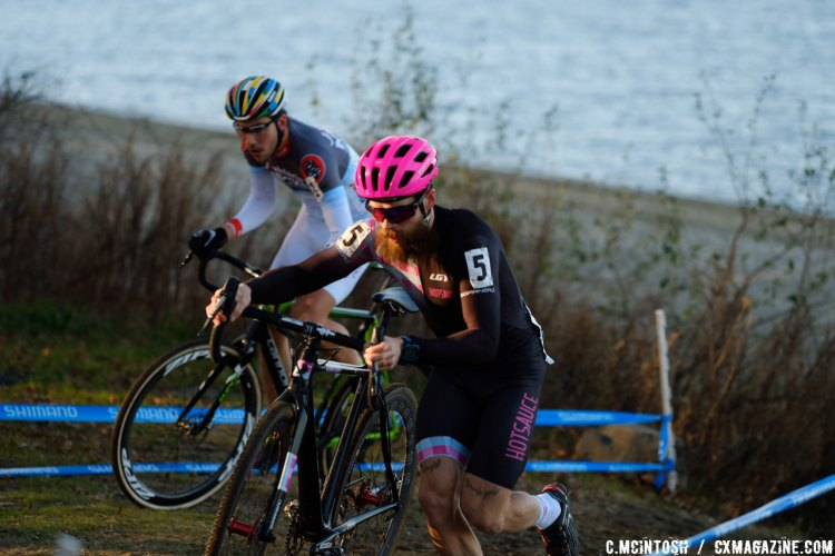 Mark McConnell (Hot Sauce Cycling/Garneau) would lead the Elite Men on lap 1. © Chris McIntosh / Cyclocross Magazine