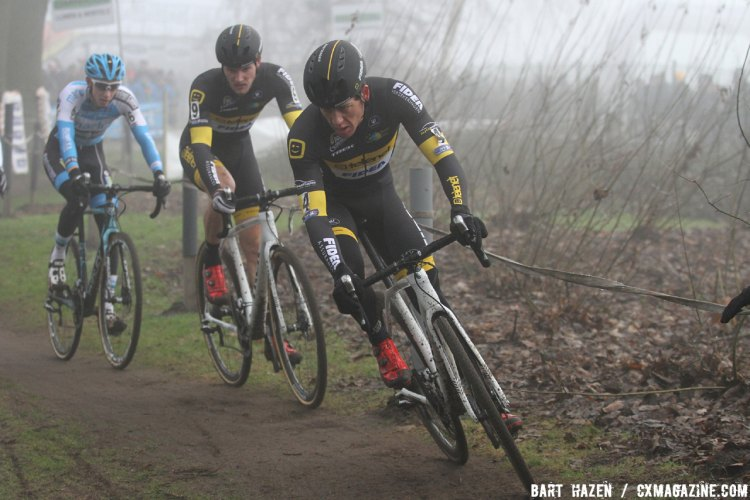 Tom Meeusen and Telenet Fidea Lions teammate Corne van Kessel on course at the 2016 Azencross Elite Men's race. © Bart Hazen / Cyclocross Magazine