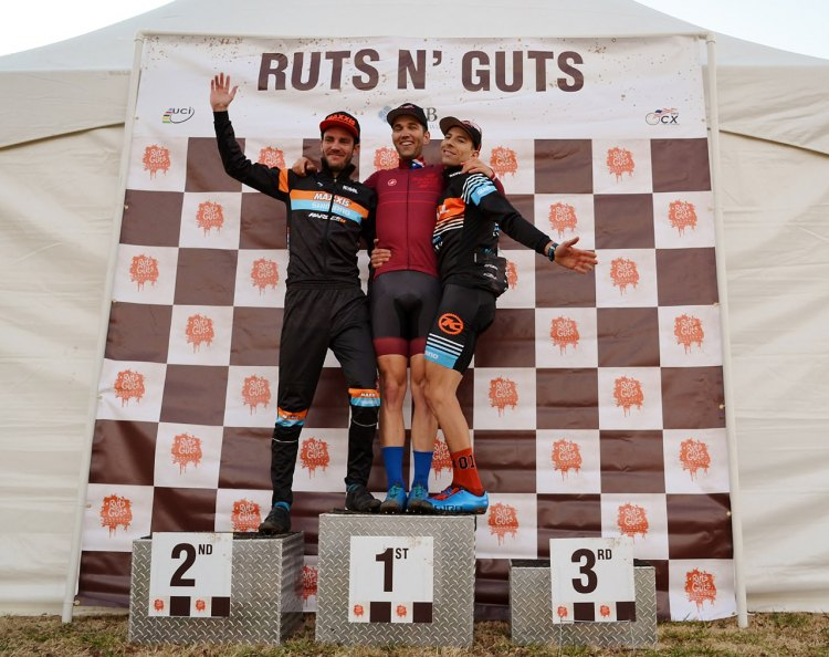 Elite Men's podium Day 2 of Ruts 'N Guts. Tobin Ortenblad (first), Travis Livermon (second) and Kerry Werner (third). © Cyclocross Magazine
