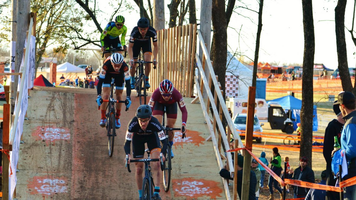 Elite Men on the flyover - Day 2 of the 2016 Ruts 'N Guts. © Cyclocross Magazine