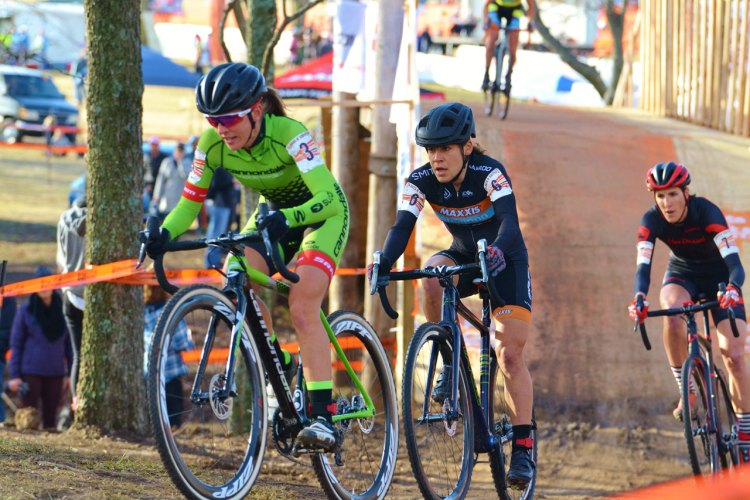 Katie Antonneau (Cannondale/Cyclocrossworld.com) leads Crystal Anthony (Maxxis-Shimano) and Sunny Gilbert (Michelob Ultra/Big Shark) 2016 Ruts 'N Guts. © Christina Luera / Cyclocross Magazine