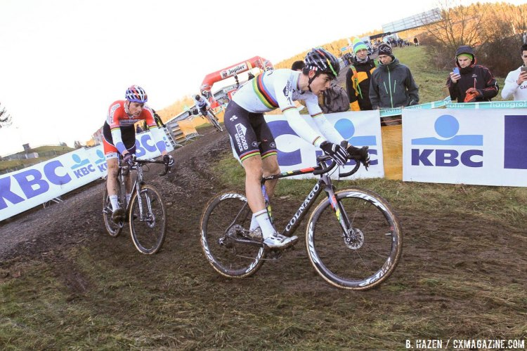 It looked to be a two-man duel to the end until Wout Van Aert opened up final gap. 2016 Hansgrohe Superprestige Spa-Francorchamps. Elite Men's race. © B. Hazen / Cyclocross Magazine