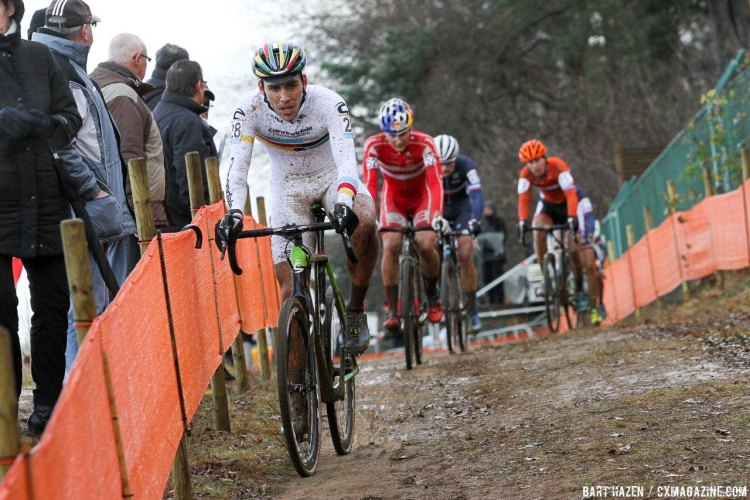 Curtis White turned in some fast lap times on his way to 12th at the 2016 Zolder Cyclocross World Cup U23 Men's race, and is getting more comfortable racing in Europe with each trip. © Bart Hazen / Cyclocross Magazine