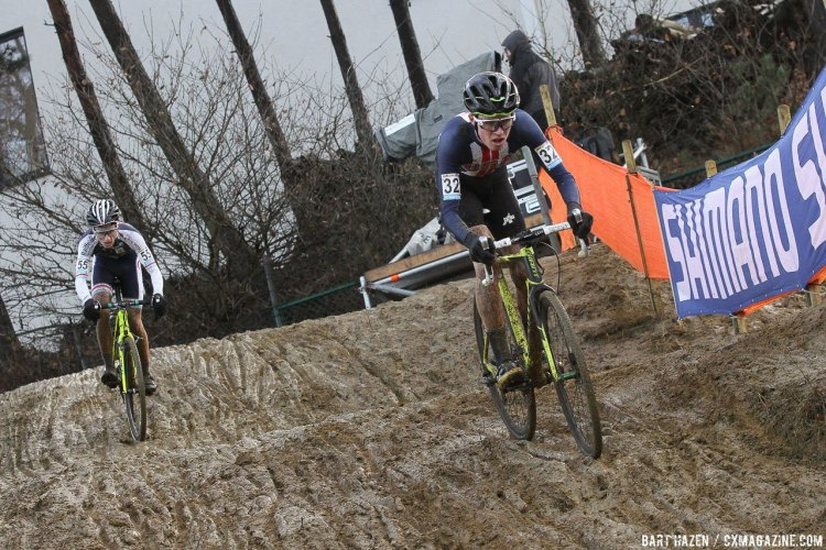 Eric Brunner (USA) leads Felix Keiser (LUX) through the downhill sandpit before a bit of contact would see Brunner hit the deck. 2016 Zolder Cyclocross World Cup - U23 Men. © Bart Hazen / Cyclocross Magazine