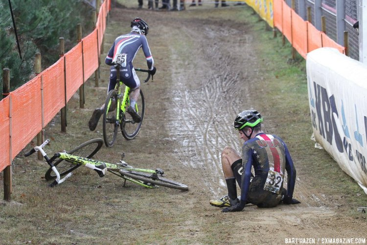 Eric Brunner (USA) and Felix Keiser (LUX) had a bit of contact as this sequence shows. 2016 Zolder Cyclocross World Cup - U23 Men. © Bart Hazen / Cyclocross Magazine