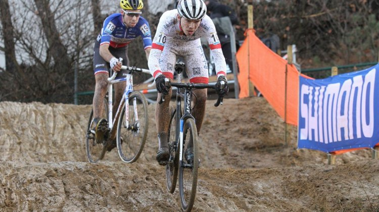 Joris Nieuwenhuis (NED) would finish in first and Clement Russo (FRA) would end up second at race's end. 2016 Zolder Cyclocross World Cup - U23 Men. © Bart Hazen / Cyclocross Magazine