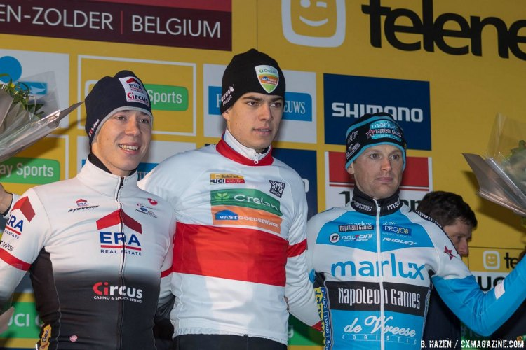 2016 Heusden-Zolder Cyclocross World Cup podium. Sweeck, Van Aert and Pauwels. Elite Men. © B. Hazen / Cyclocross Magazine