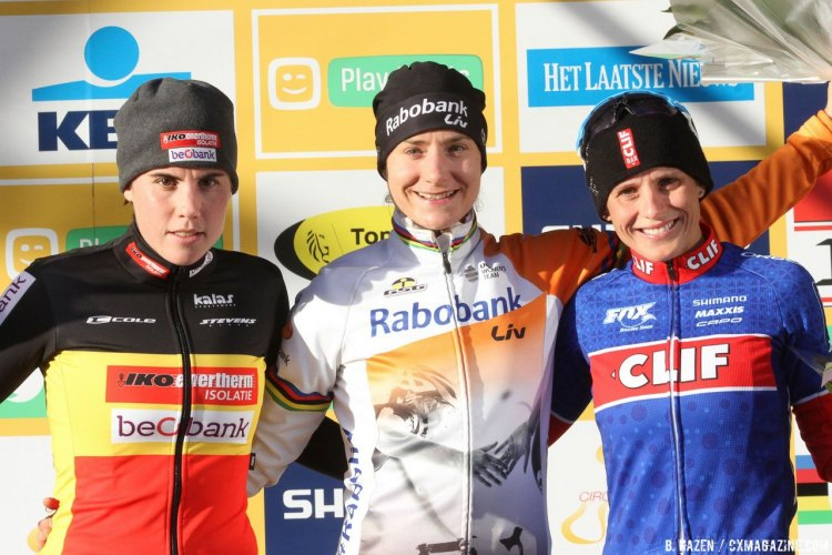 2016 Heusden-Zolder Cyclocross World Cup, Elite Women's podium was a repeat of Diegem - Sanne Cant, Marianne Vos and Katerina Nash. © B. Hazen / Cyclocross Magazine