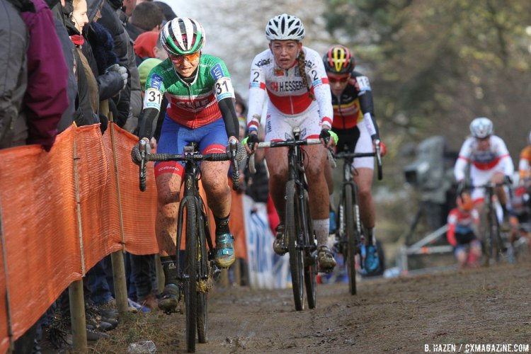 Eva Lechner leads World Cup leader Sophie de Boer and Sannt Cant. 2016 Heusden-Zolder Cyclocross World Cup, Elite Women. © B. Hazen / Cyclocross Magazine