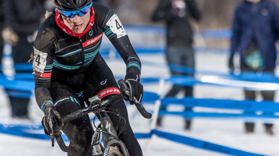 It was easy to tell why the gap opened up between Katie Compton and Elle Anderson suddenly, but Anderson would hange on for fourth. 2017 Cyclocross National Championships, © D. Perker / Cyclocross Magazine