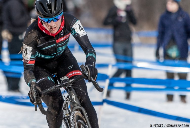 It was easy to tell why the gap opened up between Katie Compton and Elle Anderson suddenly, but Anderson would hang on for fourth. 2017 Cyclocross National Championships, © D. Perker / Cyclocross Magazine